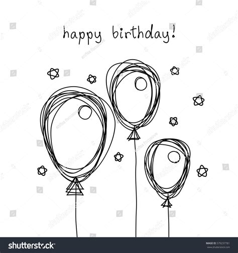 cards template black and white vector birthday card doodle balloon black stock vector