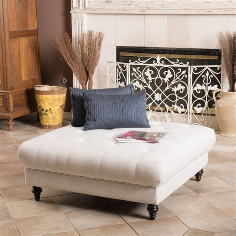 square ottoman living room square white upholstered tufted ottoman coffee table for