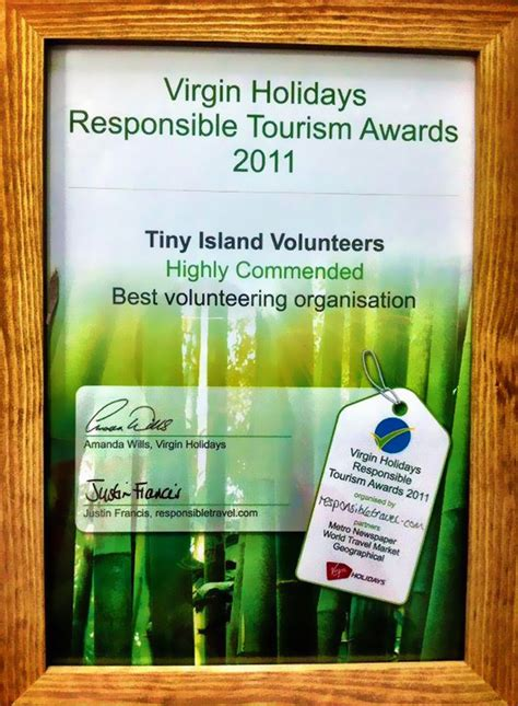 Win A With The Responsible Tourism Awards by Tiny Island Volunteers Wins Responsible Tourism Award