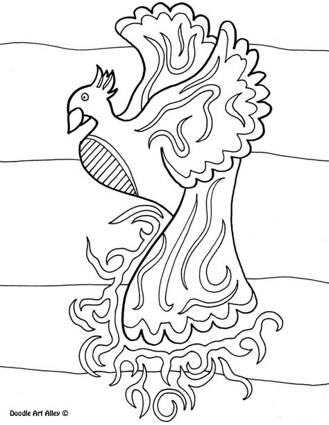 mythical creatures coloring pages doodle art alley