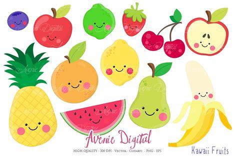 Fruit Clipart Kawaii Fruits Clipart Vectors Illustrations Creative
