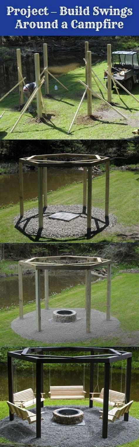 hexagon fire pit swing how to build swings around a cfire my favthings