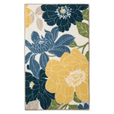 blue and yellow kitchen rugs threshold floral kitchen rug blue target