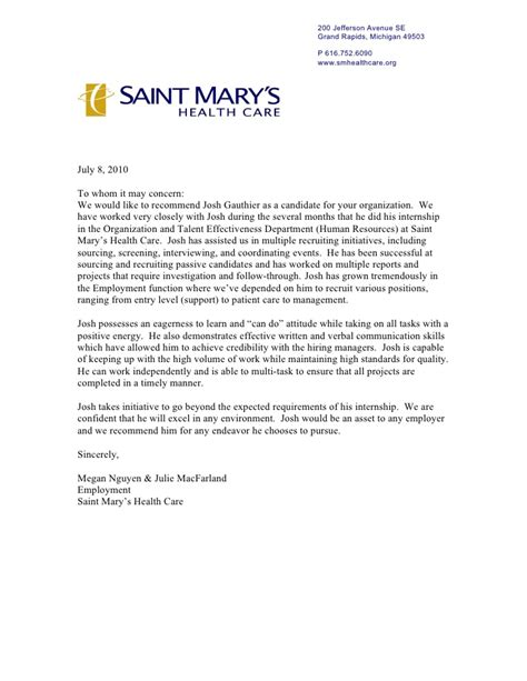 Saint Marys Letter Of Recommendation