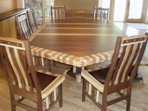 natural wood dining room table 80 x 56 custom mixed wood double border timber edge