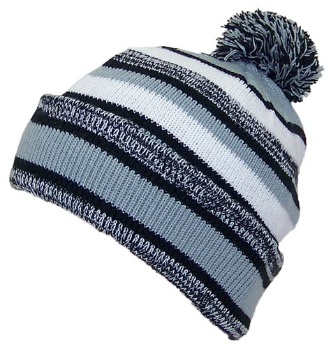 Best Quality Pompom Silver best winter hats quality striped variegated cuffed hat w large pom