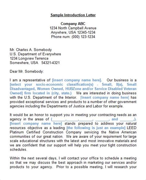 Company Introduction Letter Doc 41 introduction letter templates free sles exles
