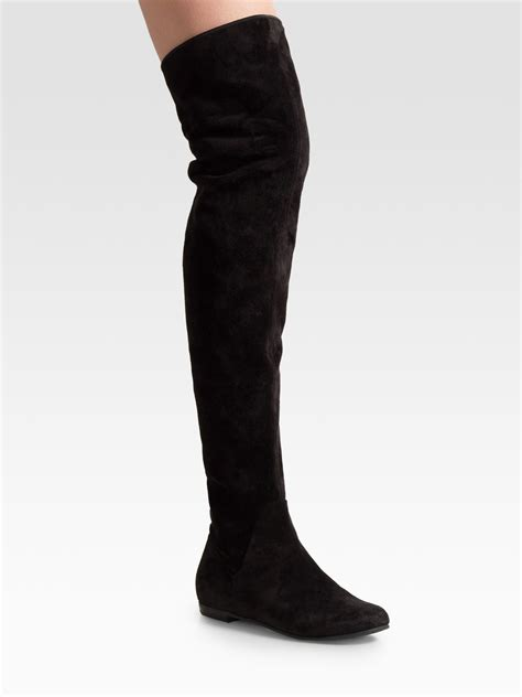 giuseppe zanotti black suede the knee flat boots in