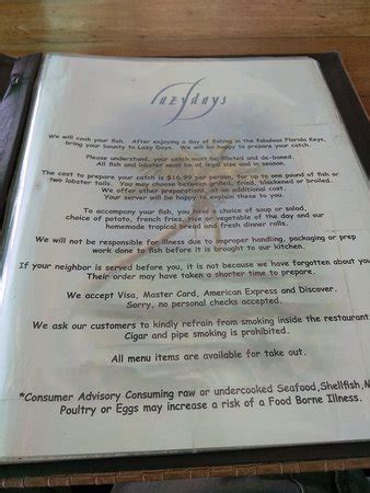 lazy menu prices lazy days south marathon menu prices restaurant reviews tripadvisor