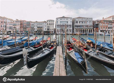 gondola boat price gondola boats moored row venice italy stock photo