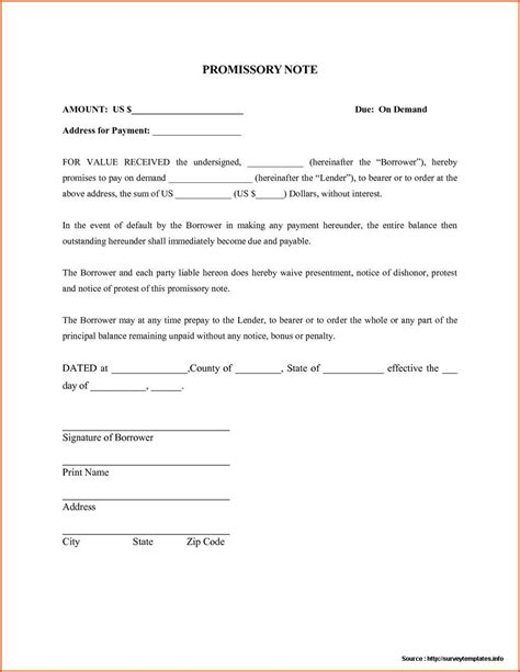 promissory note template canada promissory note format in india form resume