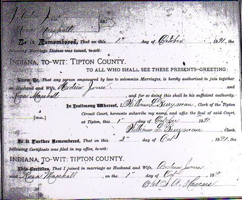 County Indiana Marriage Records Andrew Jones And Rosetta Marshall