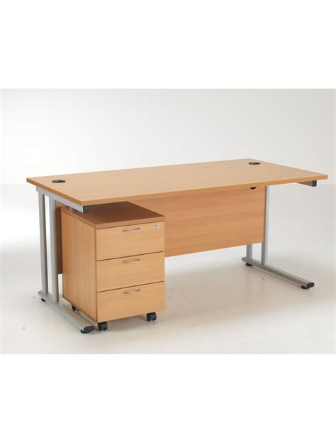 Beech Office Desk Tc Lite 1600mm Desk Pedestal And Baresi Chair Bundle Beech 121 Office Furniture