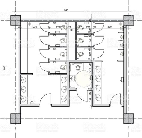 layout handicap toilet vector drawing of public restroom with separate