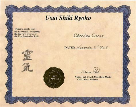 reiki certificates free templates images