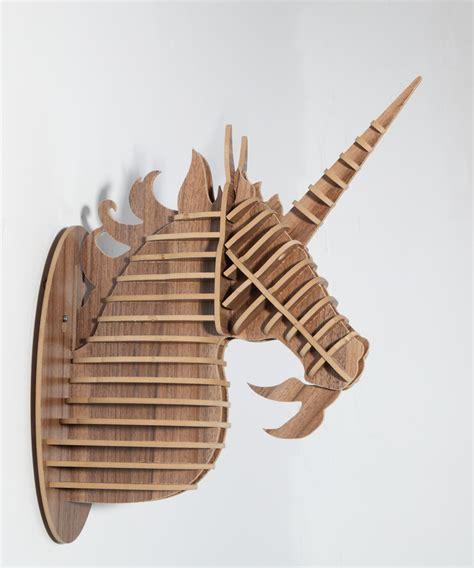home decorative items unicorn head ornament animal wood carving decorative items