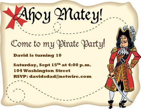pirate invitations template best template collection