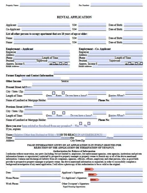 Free Missouri Rental Application Form Pdf Template Missouri Lease Agreement Template