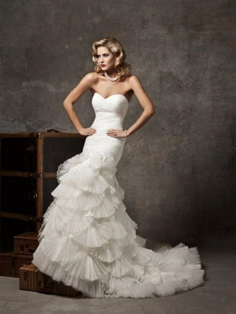 pleated mermaid wedding dress with organza fan skirt and