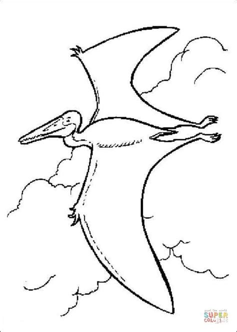 pterodactyl is flying coloring page free printable