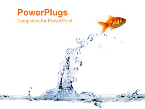 fish powerpoint template powerpoint template a gold fish jumping out of the blue