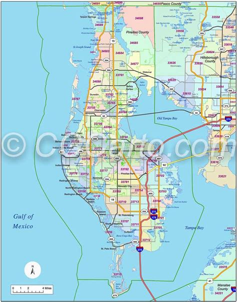 pinellas county florida zip code map st petersburg fl zip code boundary map pinellas county