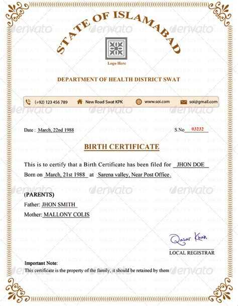 birth certificate word template birth certificate template 31 free word pdf psd