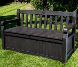 Outdoor Storage Bench Waterproof Iceni 2 Seater Storage Bench Brown Wood Effect 163 129 99 Garden4less Uk Shop
