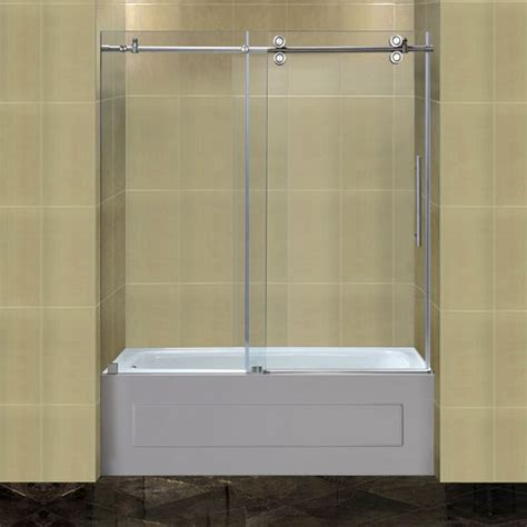bathtub shower doors frameless aston completely 60 quot x 60 quot sliding frameless tub height