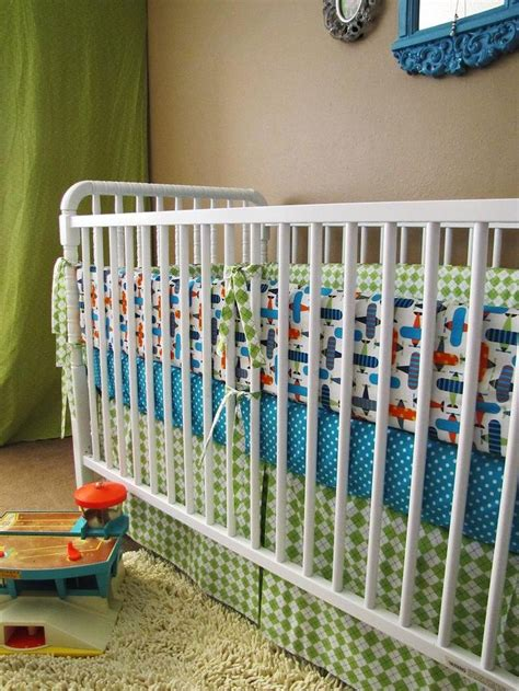 Crib Skirt Boy by Organic Airplanes Baby Bedding With Bumper Set Fitted