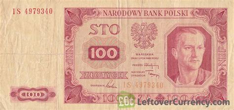 currency converter zloty 100 old polish zlotych banknote 1948 issue exchange