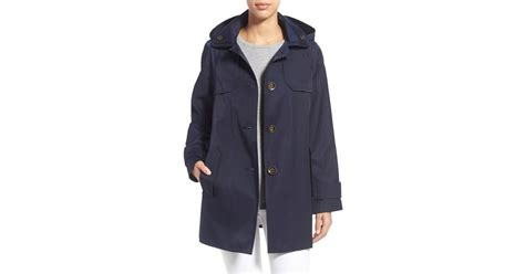 a line single breasted coat fog hooded single breasted a line coat in black lyst