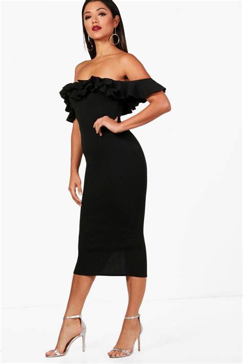 Dress 101525580 Black Official boohoo womens ruffle the shoulder midi dress ebay
