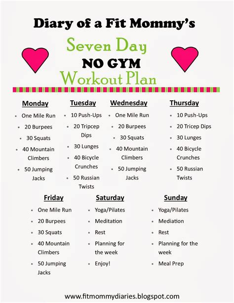 30 day home workout plan mommy workout plan on pinterest mommy workout 10 week