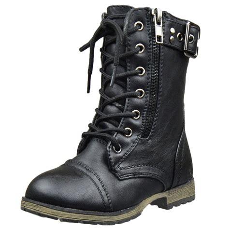 black combat boots mid calf boots buckle accent lace up combat zipper