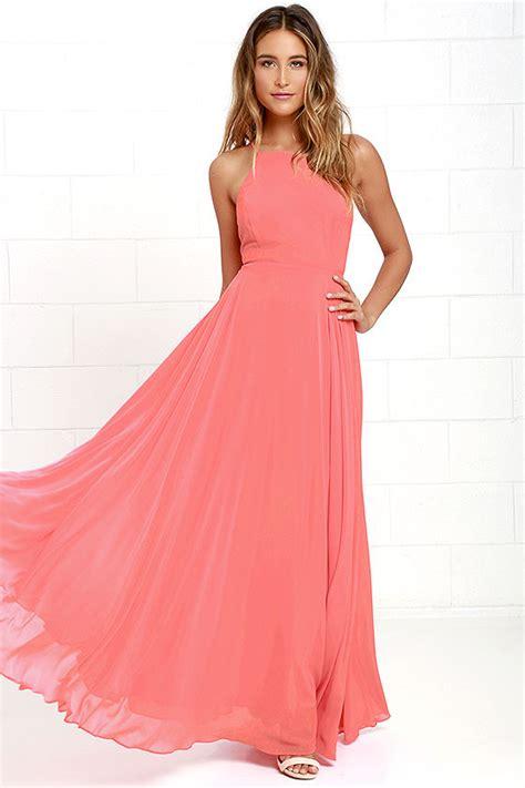Pink Dress beautiful coral pink dress maxi dress backless maxi