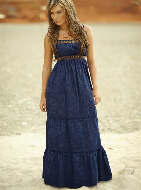 Delsa Blue Dress Gamis Maxi Fashion Style Tiered Denim Maxi Dress Best Dressed