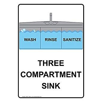 servsafe 3 compartment amazon com compliancesigns vertical aluminum wash rinse