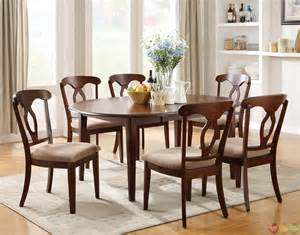 Dining Room Set Liam Cherry Finish 7 Piece Space Saver Dining Room Set