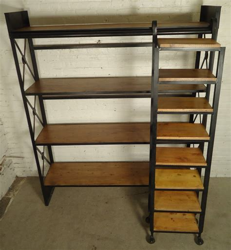 Industrial Wood And Iron Shelving Unit With Sliding Ladder Industrial Wood Shelves
