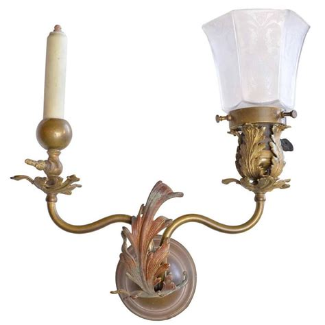 Brass Sconces Electric 1890s gas electric brass sconce for sale at 1stdibs