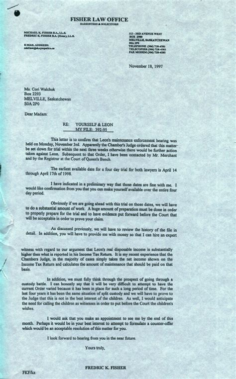 Divorce Letter From Attorney Saskatchewangold
