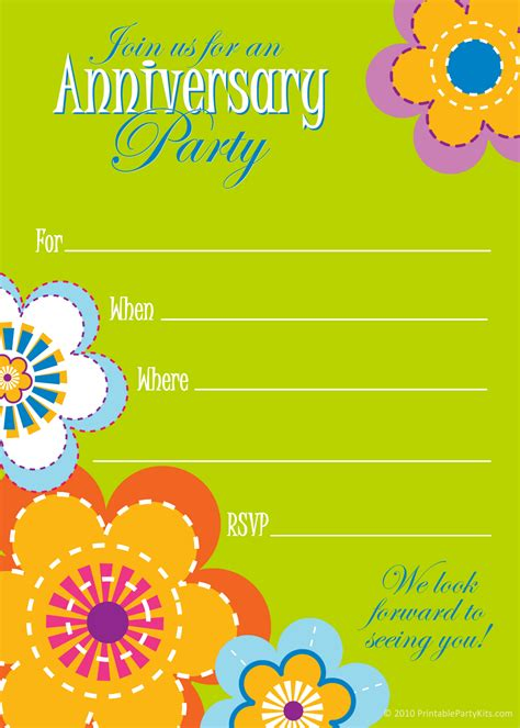 free printable party invitations wedding anniversary