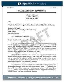 defamation of character letter template cease and desist letter c d create a cease desist