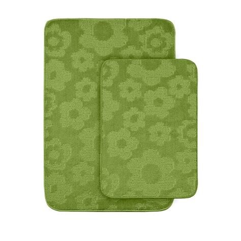 Lime Green Bathroom Rugs Garland Rug Flowers Lime Green 20 In X 30 In Washable Bathroom 2 Rug Set Fb 2pc Lgn The