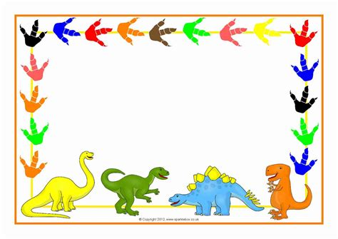 dinosaurs themed a4 page borders sb3978 sparklebox