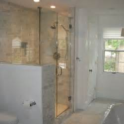 glass shower half wall half wall shower design home splish splash
