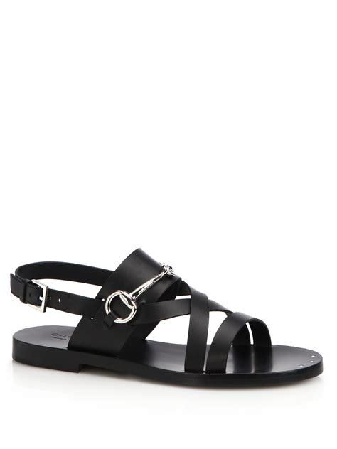 gucci black sandals lyst gucci juliette strappy flat sandals in black