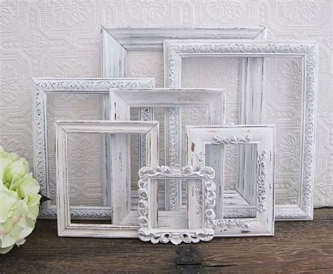 shabby chic white photo frames empty picture frame set of 7 antique white shabby chic wall decor set of shabby chic wall