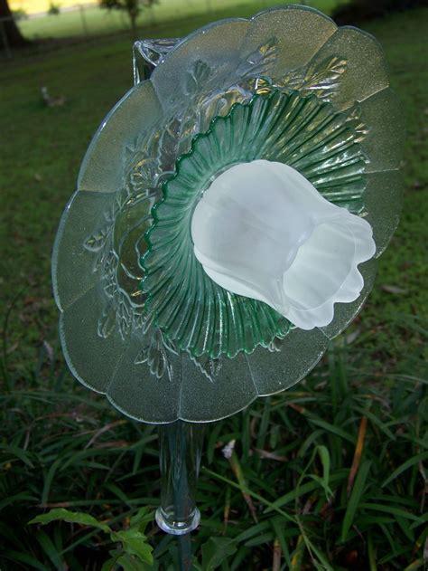 Glass Plate Garden Flowers Frosted Grn Glass Plate Garden Flower
